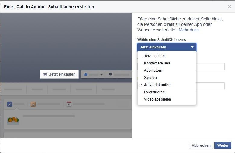 Call-to-Action auf Facebook einrichten