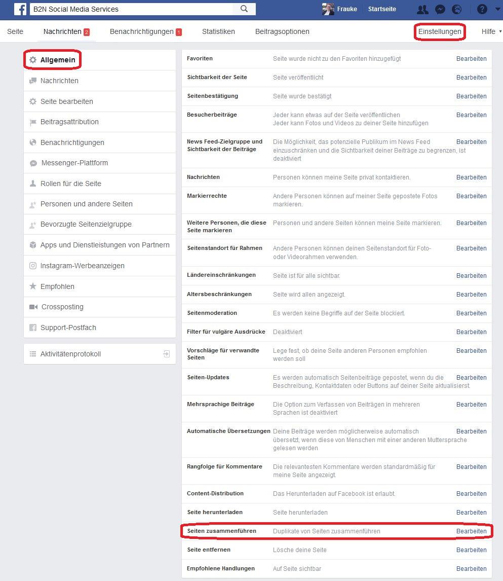 Facebook-Seiten zusammenführen 02