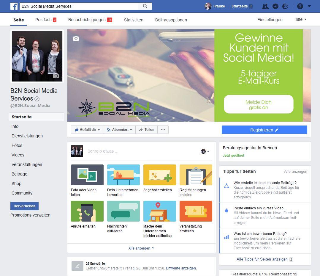 Facebook für Unternehmen: Grundfunktionen - B2N Social Media Bremen