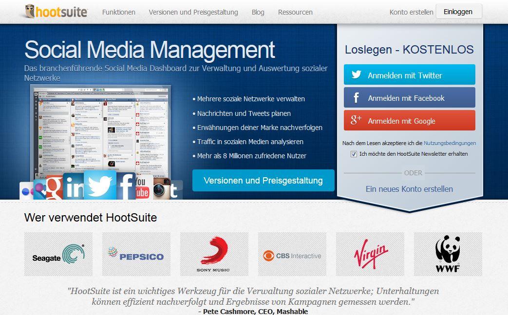 Hootsuite Startseite