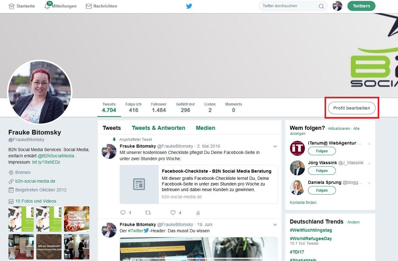 Twitter-Account einrichten_Profil bearbeiten